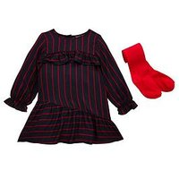 Mini V by Very Toddler Girls 2 Piece Striped Dress with Tights Outfit - Navy/Red, Navy, Size 5-6 Years, Women