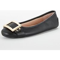 Carvela Mission Ballerina With Buckle, Black, Size 6, Women
