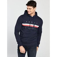 Tommy Hilfiger Stripe Logo Hoodie - Navy, Navy, Size 2Xl, Men