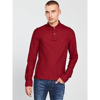 Tommy Hilfiger Long Sleeve Polo, Burgundy, Size L, Men