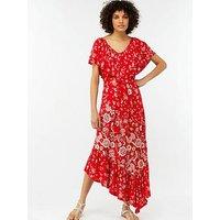 Monsoon Valentina Jersey Asymmetric Hem Dress - Red