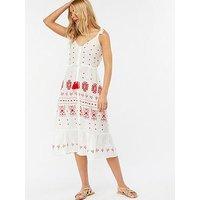 Monsoon Clarissa Broderie Beach Midi Dress - White