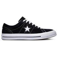 Converse One Star Suede Ox - Black , Black/White, Size 6, Women