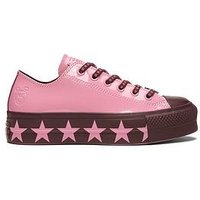 Converse X Miley Cyrus All Star Patent Lift - Pink , Pink/Black, Size 4, Women