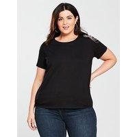 V by Very Curve Embellished Shoulder T-Shirt - Black , Black, Size 20, Women