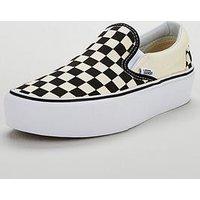 Vans Classic Checkerboard Slip-on Platform - Monochrome, Black/White, Size 4, Women