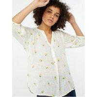 Monsoon Lemon Print Linen Gauze Top - White, White, Size S, Women