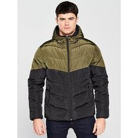 V by Very Colour Block Padded Jacket, Brown/Black, Size Xl, Men
