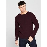 V by Very Raglin Rib Knit, Burgundy/Black, Size Xs, Men