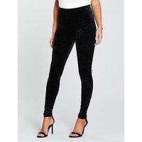 V by Very Velvet Legging - Black , Black, Size 8, Women