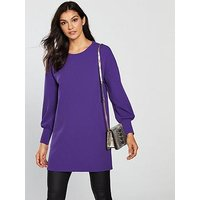 V by Very Wide Cuff Longline Top - Purple, Purple, Size 16, Women