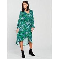 V by Very Shirred Waist Midi Dress - Printed, Print, Size 10, Women