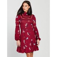 V by Very Lace Trim Jersey Skater Dress - Printed , Print, Size 8, Women