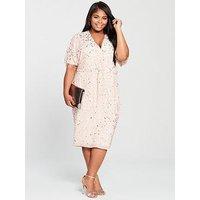 V By Very Curve Embellished Knot Front Dress - Blush