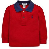 Ralph Lauren Baby Boys Contrast Collar Long Sleeve Polo, Red, Size 9 Months
