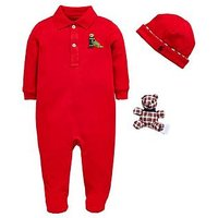 Ralph Lauren Baby Boys Christmas Bear All In One Gift Set, Red, Size 9 Months