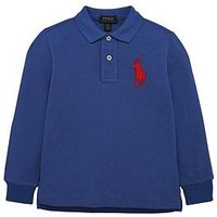Ralph Lauren Boys Big Pony Long Sleeve Polo, Blue, Size 18-20 Years=Xl