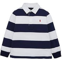 Ralph Lauren Boys Long Sleeve Stripe Rugby Polo, French Navy, Size 7 Years