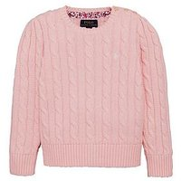 Ralph Lauren Girls Classic Cable Knit Jumper, Pink, Size Age: 7 Years=S, Women