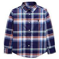 Ralph Lauren Boys Long Sleeve Check Shirt - Navy, Navy Multi, Size 3 Years