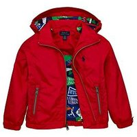 Ralph Lauren Boys Hooded Windbreaker Jacket - Red, Red, Size Age: 6 Years