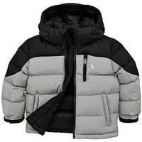 Ralph Lauren Boys Padded Colour Block Coat - Multi, Light Grey, Size Age: 4 Years