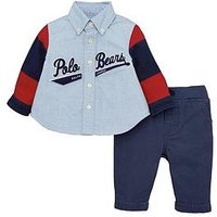 Ralph Lauren Baby Boys Shirt & Chino Outfit, Blue, Size 3 Months