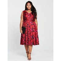 V by Very Curve Jacquard Prom Dress - Floral , Floral, Size 28, Women
