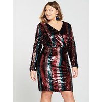V By Very Curve Stripe Sequin Dress - Multi