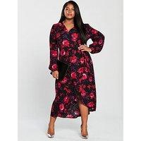 V by Very Curve Printed Wrap Midi Dress - Floral, Print, Size 22, Women