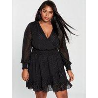 V By Very Curve Lurex Dobby Polka Dot Ruffle Dress - Black