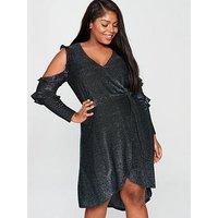 V By Very Curve Lurex Wrap Cold Shoulder Jersey Dress - Metallic