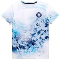 Boys, V by Very Wave Print Skull T-Shirt, White, Size 6 Years