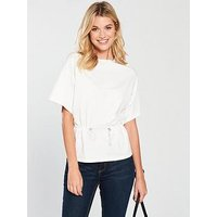 V by Very Drawstring Waist Top - White, White, Size 18, Women