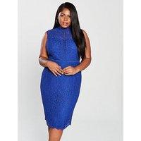 V By Very Curve High Neck Lace Pencil Dress - Blue