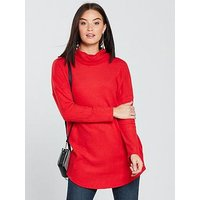 V by Very Rib Slouchy Cowl Neck Longline Top - Red, Red, Size 12, Women