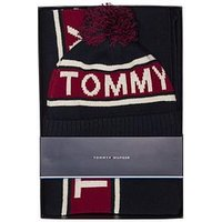 Tommy Hilfiger Logo Scarf And Beanie Set, Red/Black, Men