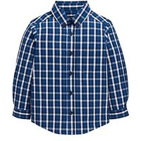 Boys, Mini V by Very Checked Smart Shirt, Blue, Size Age: 9-12 Months