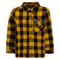 Boys, Mini V by Very Gingham Check Shirt, Yellow/Black, Size Age: 3-6 Months