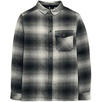 Boys, V by Very Brushed Checked Long Sleeve Shirt, Grey, Size 6 Years