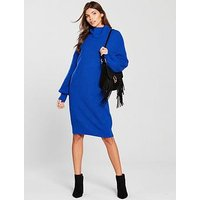 V by Very Blouson Sleeve Roll Neck Knitted Jumper Dress - Cobalt Blue, Cobalt Blue, Size 10, Women