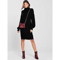 V by Very Blouson Sleeve Roll Neck Knitted Jumper Dress, Black, Size 14, Women