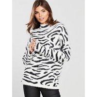 V by Very Fluffy Zebra Jacquard Jumper - Monochrome, Black/White, Size 20, Women