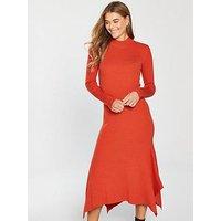 V by Very Skinny Rib High Neck Knitted Midi Dress - Red Orange, Red Orange, Size 10, Women
