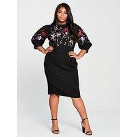 V By Very Curve Embroidered Bodycon Midi Dress - Black