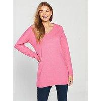 V by Very V-Neck Longline Slouch Jumper - Pink , Pink, Size 20, Women