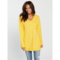 V by Very V-Neck Longline Slouch Jumper - Yellow, Yellow, Size 14, Women