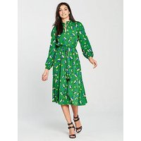 V by Very Printed Tie Waist Dress - Green , Green Floral, Size 18, Women