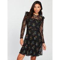 V by Very Printed Lace Skater Dress - Black, Print, Size 16, Women
