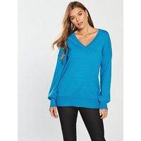 V by Very V-neck Blouson Sleeve Slouch Jumper - Bright Blue, Bright Blue, Size 8, Women